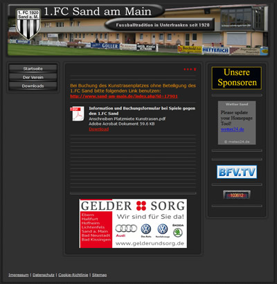 1. FC Sand Webseite