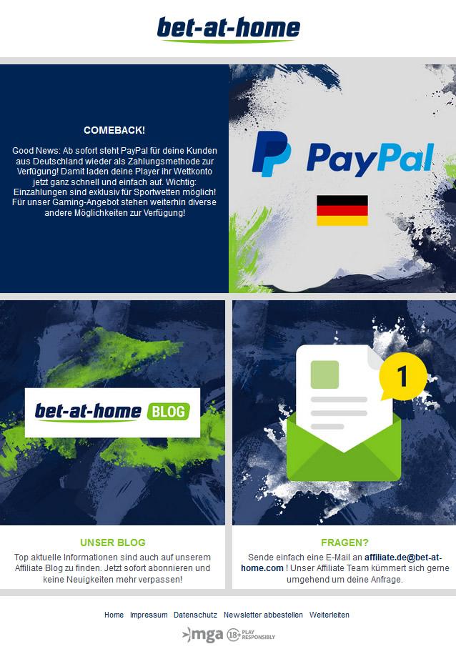 Paypal funktioniert nun auch wieder mit Bet at Home