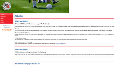 FC Bremerhaven Webseite
