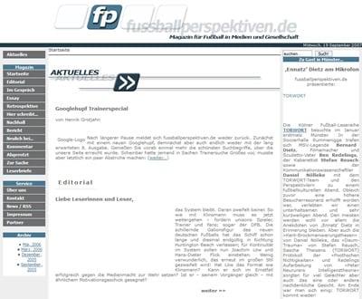 Screenshot der Webseite Fussballperspektiven.de vom 19.09.2007