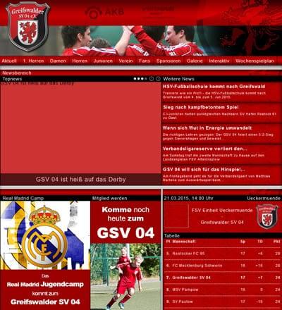 Greifswalder SV 04 Webseite