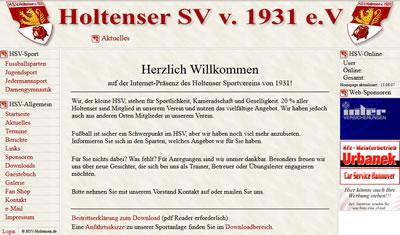 Holtenser SV Webseite