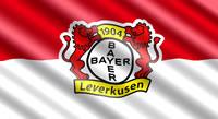 Die Bayer 04 Leverkusen Flagge mit Vereinswappen