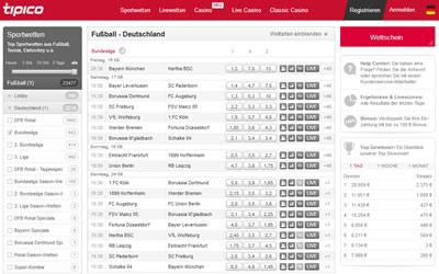 Bundesliga Quoten bei Tipico