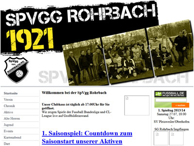 SpVgg Rohrbach Webseite
