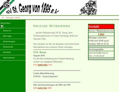 SV St. Georg Webseite