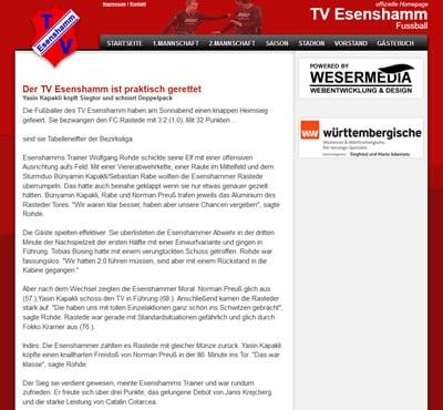 TV Esenshamm Webseite